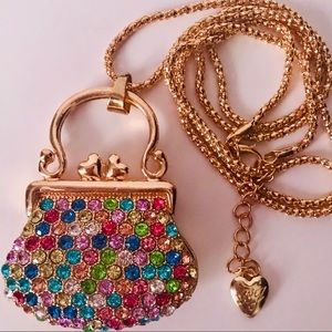 NEW! COLORFUL CRYSTAL PURSE SWEATER NECKLACE-GOLD